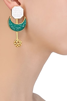 Gold Plated Crescent Green Stone Earrings by Limited Edition