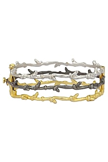 Gold Plated Textured Bracelet by Limited Edition