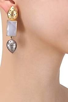 Gold Plated Textured Drop Earrings by Limited Edition
