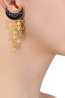 Gold Plated Crescent Shaped Earrings by Limited Edition