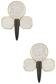 Rhodium Plated Textured Earrings by Limited Edition