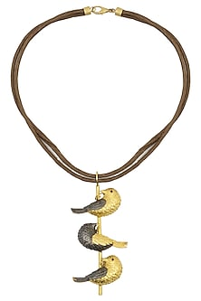 Gold Plated Bird Motif Drop Necklace by Limited Edition