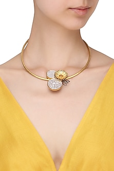 Gold Plated Abstract Disc Choker Necklace by Limited Edition
