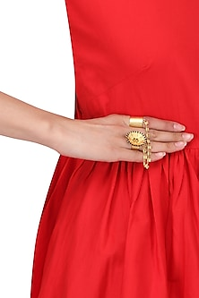 Gold Plated Double Finger Spike Disc Ring by Limited Edition
