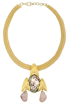 Gold Plated Leaf Motif Pendant Necklace by Limited Edition