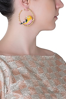 Gold Plated Meena Work Bird Hoop Earrings