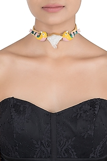 Gold plated multi coloured choker necklace