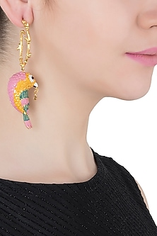 Gold Plated Meena Work Bird Motif Earrings by Limited Edition
