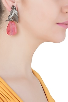 Silver Plated Pink Stone Drop Leaf Shaped Earrings
