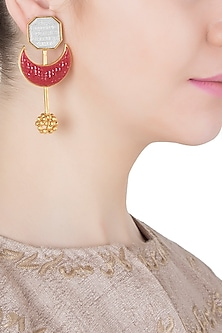 Gold and Silver Dual Plated Red Stone Crescent Earrings