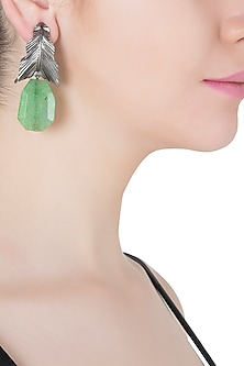 Silver Plated Green Stone Drop Leaf Shaped Earrings