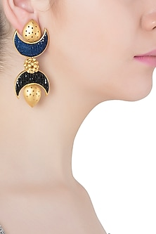 Gold Plated Black and Blue Stone Double Crescent Earrings