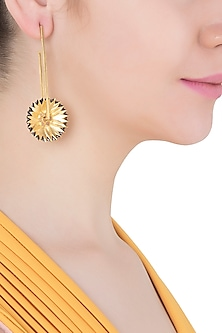 Gold Plated Spike Floral Motif Earrings