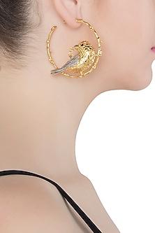 Gold Plated Bird Motif Inset Hoop Earrings