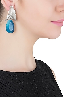 Silver Plated Blue Stone Drop Leaf Shaped Earrings