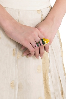 Gold Plated Meena Work Bird Motif Ring by Limited Edition