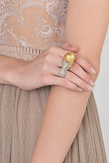 Gold and Silver Dual Plated Bird Motif Ring