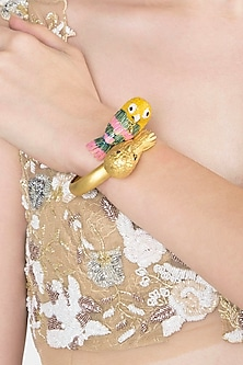 Gold Plated 2 Bird Motif Meena Bracelet