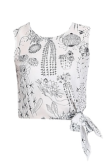 White Cactus Print Side Tie Up Crop Top by Little Things Studio