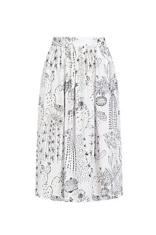 White Cactus Print Gather Skirt by Little Things Studio
