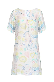 White Printed Front Pleated Dress