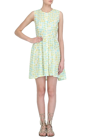 Yellow Sky Buttoned Down Dress by Little Things Studio