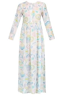 White Printed Long Maxi Dress