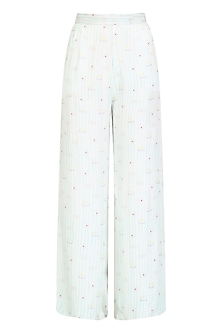 White Printed High Waisted Pants