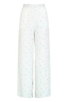White Printed High Waisted Pants