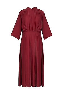 Red Front Pleat Gather Dress