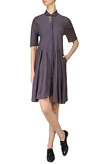 Grey Flared Shirt Dress by Lovebirds