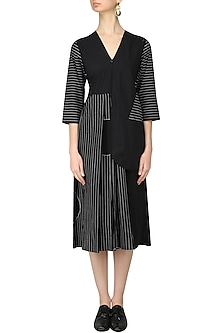 Black Striped Half Jacket Dress by Lovebirds
