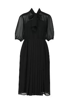 Black Sheer Front Pleats Dress