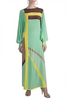 Mint Green Color Blocked Tunic by Manish Malhotra