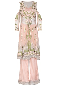 Light Peach Embroidered Jacket With Bustier & Palazzo Pants by Mansi Malhotra
