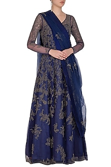 Cobalt Blue Embroidery Anarkali Set by Mansi Malhotra