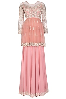 Powder Pink Embroidered Sharara Set by Mansi Malhotra