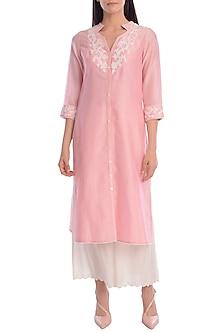 Pink Embroidered Kurta With Ivory Palazzo Pants by Mandira Wirk