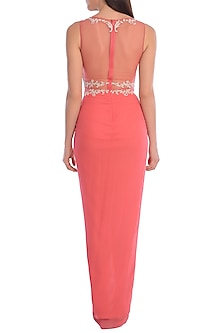 Coral Embroidered Draped Dress by Mandira Wirk