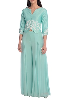 Aqua Blue Embroidered Jacket With Palazzo Pants by Mandira Wirk