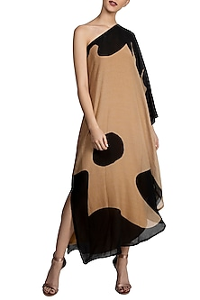 Black Splash Print One Shoulder Dress by Masaba