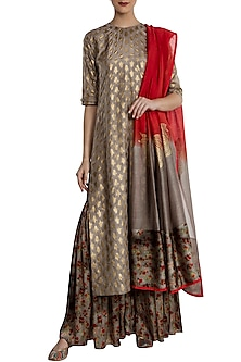 Grey Kalash Print Kurta with Lehenga Set by Masaba