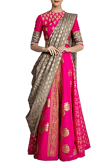 Hot Pink Printed and Embroidered Lehenga Set by Masaba