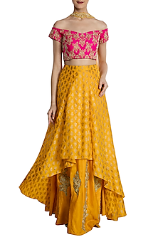 Yellow and Hot Pink Kalash Print Lehenga Set by Masaba