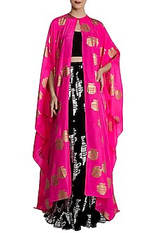 Hot Pink Tribal Vase Print Cape with Black Lehenga Set by Masaba