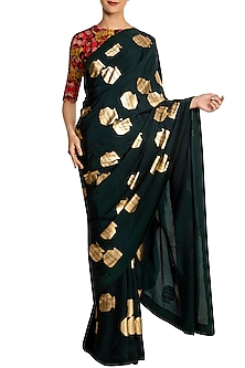 Teal Tribal Vase Print Saree with Red Blouse Piece
