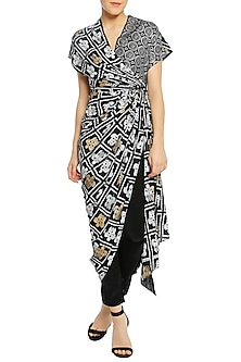 Black Printed Wrap Tunic with Pencil Pants