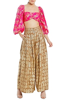 Nude Printed Pleated Palazzo Pants with Fuchsia Pink Bustier and Shrug by Masaba