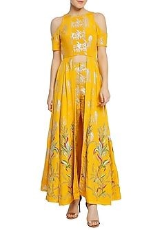Yellow Cold Shoulder Printed and Embroidered Tunic with Pants by Masaba