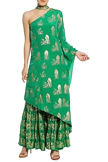 Green Printed One Shoulder Asymmetrical Tunic with Sharara Pants Set
